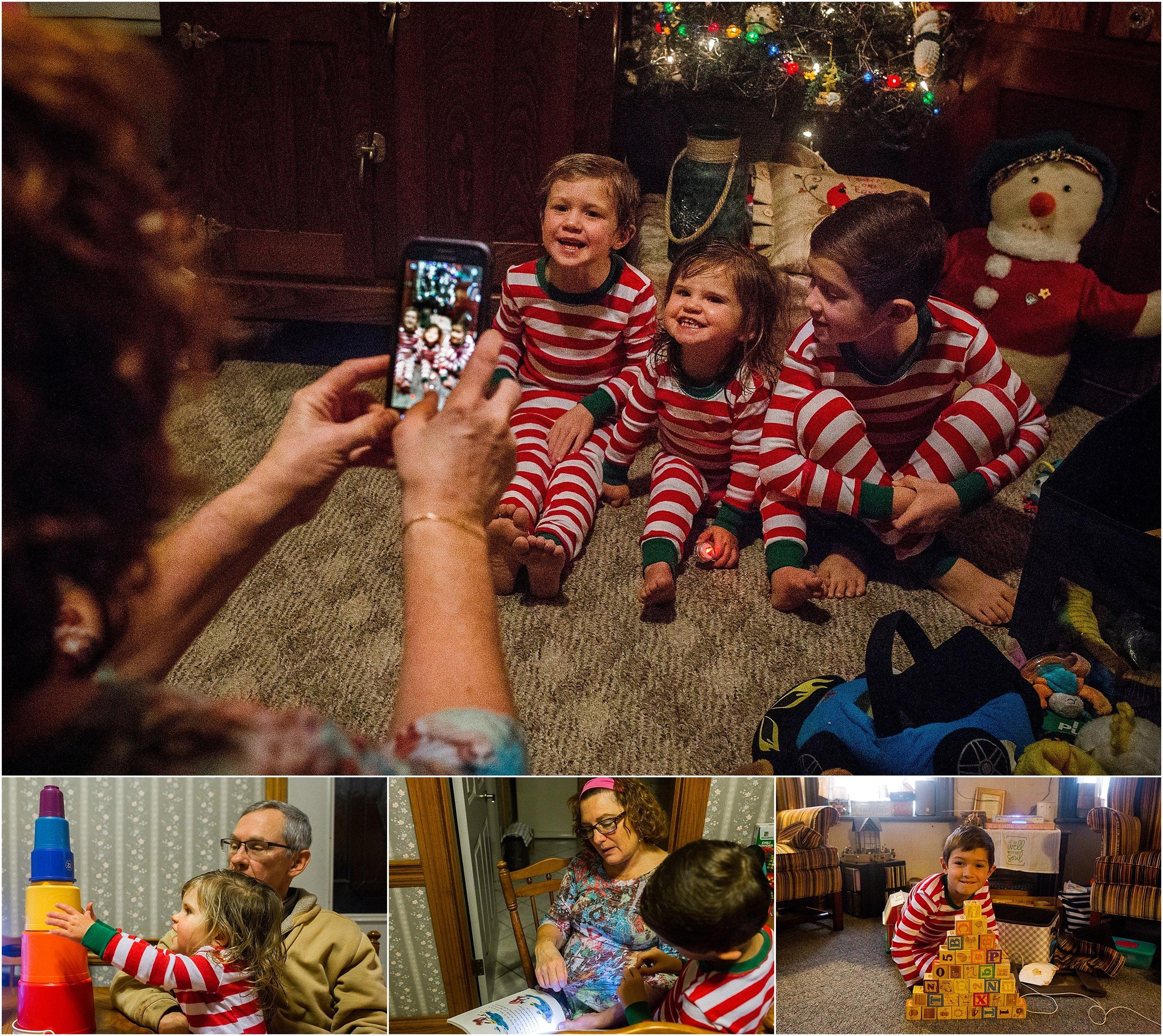 Grandma taking picture kids matching pajamas
