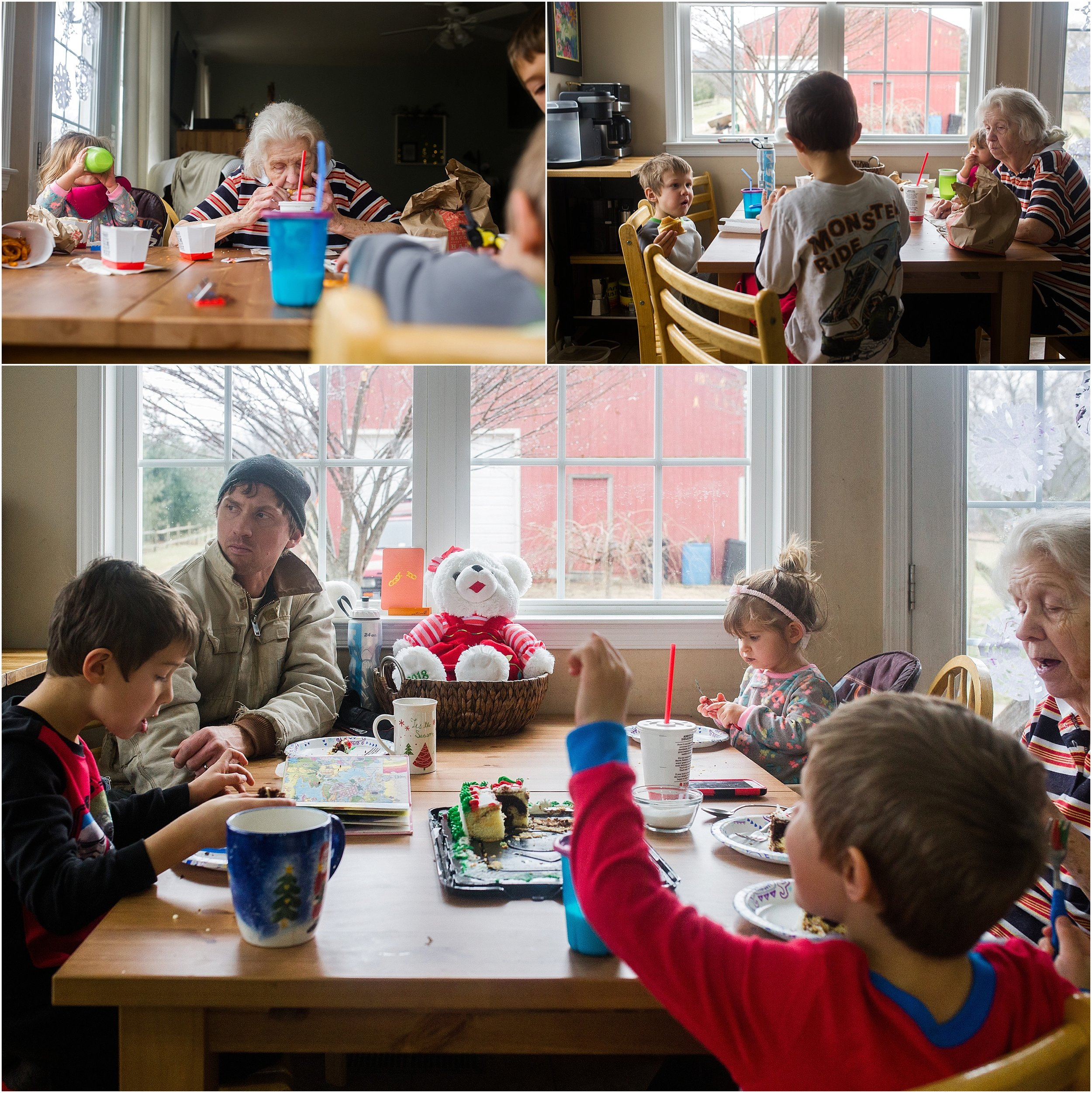 great grandmother with kids eating at table