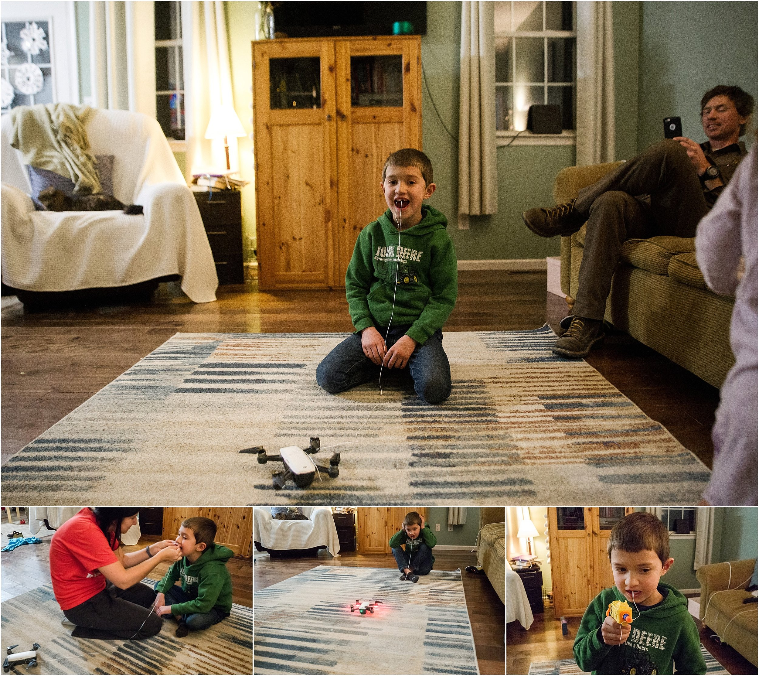 pulling tooth out with drone and nerf gun