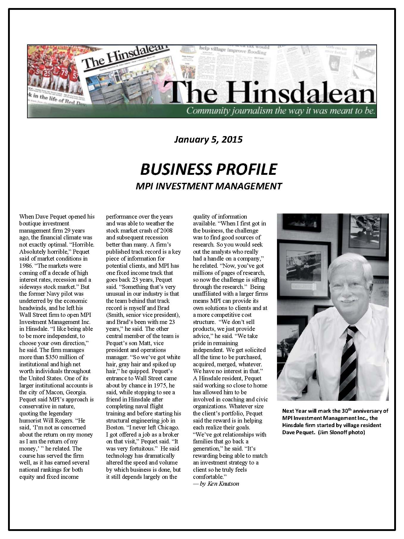 Hinsdalean Business Profile 1-5-15