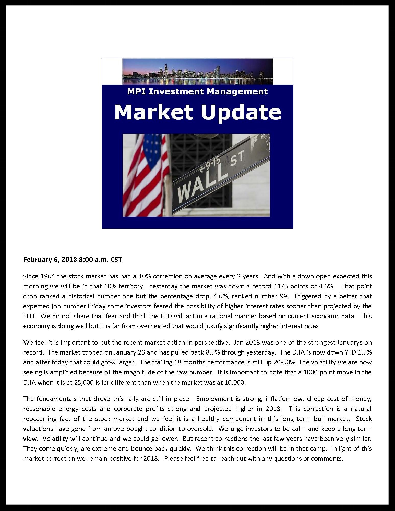 Market Comments 2-6-18
