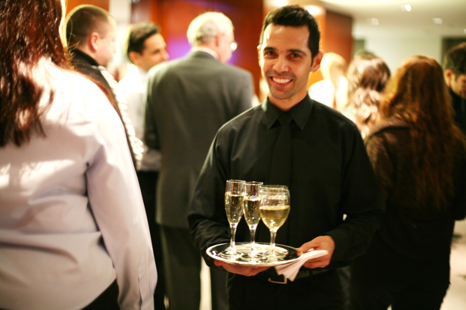 Ray with champagne tray.Fid. Dec. 19th.JPG