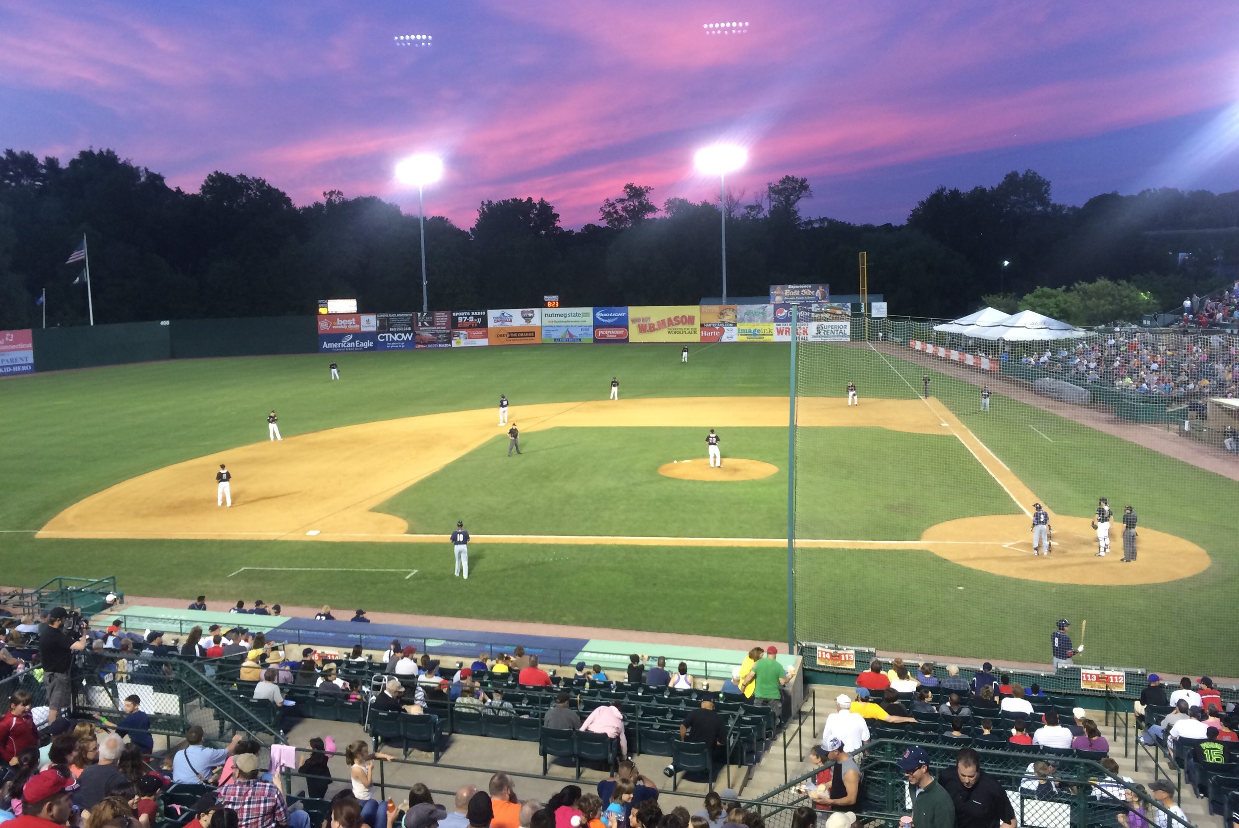 In this photo provided by the author, the New Britain Rock Cats play in a game at New Britain Stadium on May 29, 2015. The team is relocating to Hartford, where it will be re-branded as the Hartford Yard Goats.(Courtesy/Daniel Madigan)