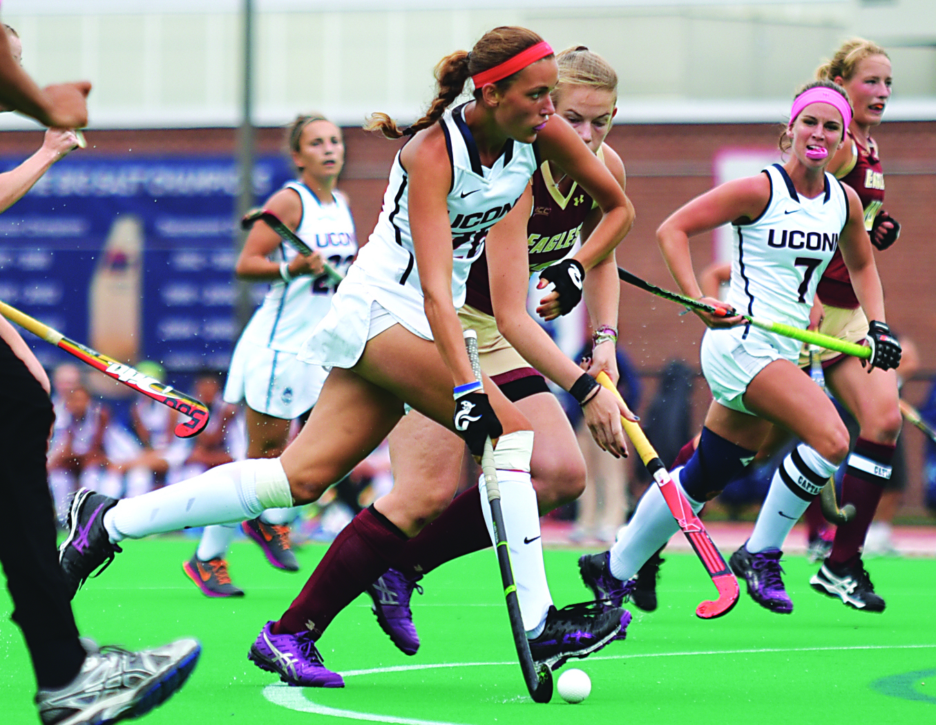 UConn sophomore forward Charlotte Veitner runs downfield during the Huskies' game against Boston College on Sunday, Sept. 13, 2015 at the Sherman Family Sports Complex in Storrs, Connecticut. (Allen Lang/The Daily Campus)