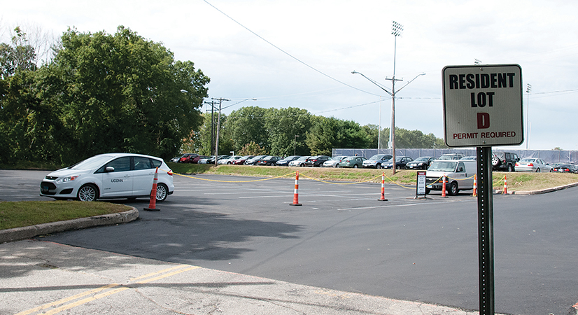 In this photo, UConn's D-Lot is pictured. The lot, which had been closed due to construction, is set to re-open today, according to Parking Services. (Olivia Stenger/The Daily Campus)