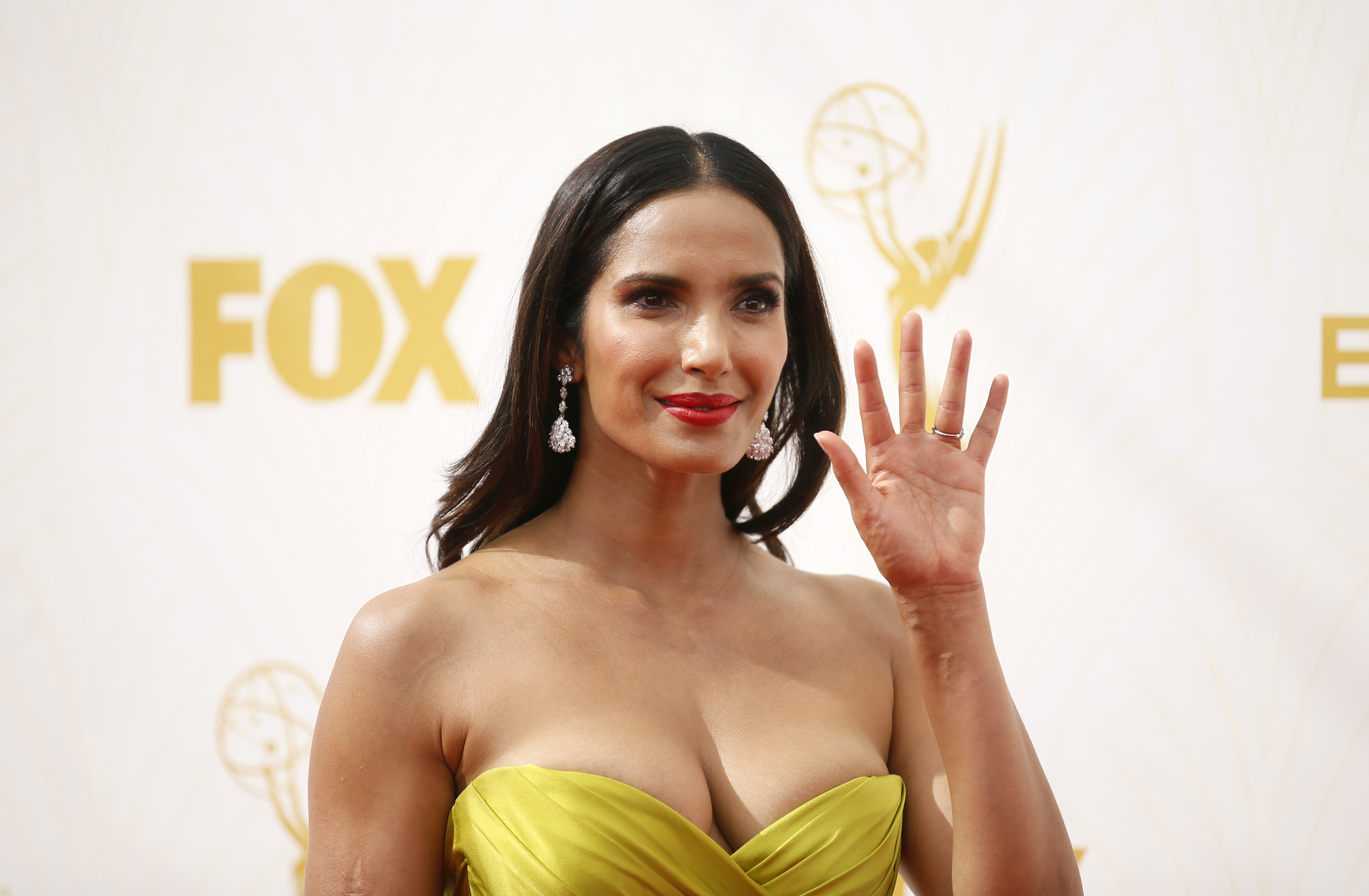 Padma Lakshmi arrives at the 67th Primetime Emmy Awards on Sunday, Sept. 20, 2015, at the Microsoft Theater in Los Angeles. (Danny Moloshok/Invision for the Television Academy/AP)