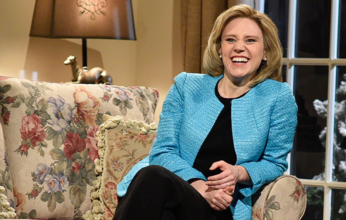 "Kate McKinnon, actress on NBS's ""Saturday Night Live,"" plays Hillary Clinton for the show's political skits. She was recently up for an Emmy for ""Outstanding Supporting Actress in a Comedy Series"" for her Clinton impersonations (Courtesy/NBC)."