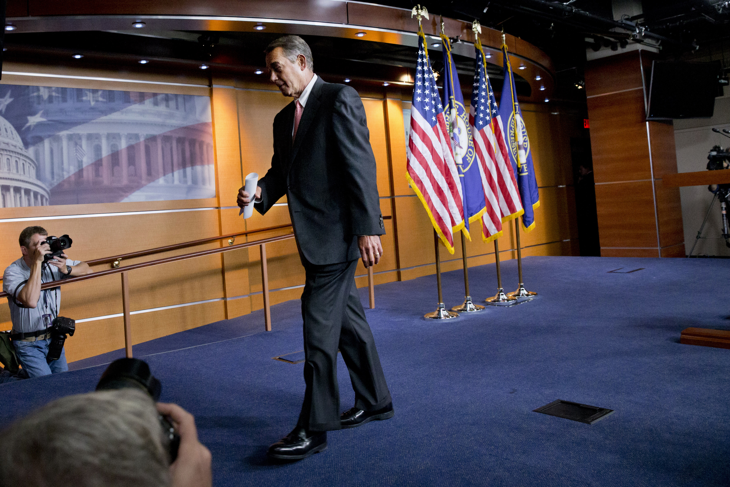 House Speaker John Boehner of Ohio leaves a news conference on Capitol Hill in Washington, Friday, Sept. 25, 2015. In a stunning move, Boehner informed fellow Republicans on Friday that he would resign from Congress at the end of October, stepping aside in the face of hardline conservative opposition that threatened an institutional crisis. (Jacquelyn Martin/AP)