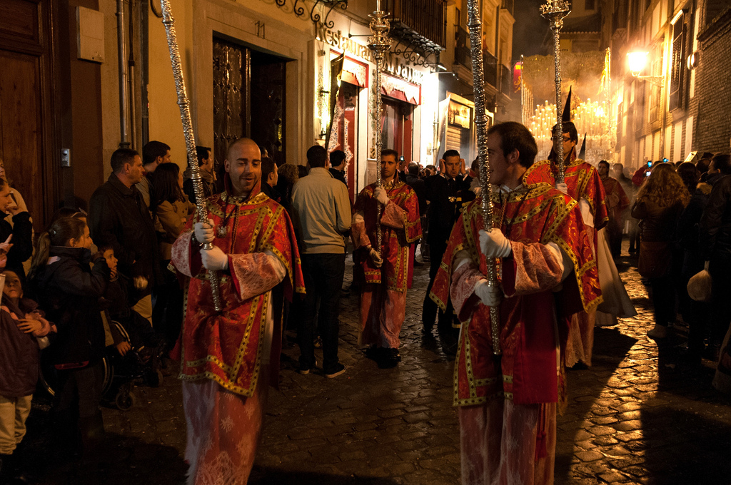 Semana Santa, or Holy Week, processions in Granada, Spain. The religious festivities take place during Easter week and are an example of the countries Catholic ties, which are strong but less intense than Miller expected. (Anna & Michal/Flickr)