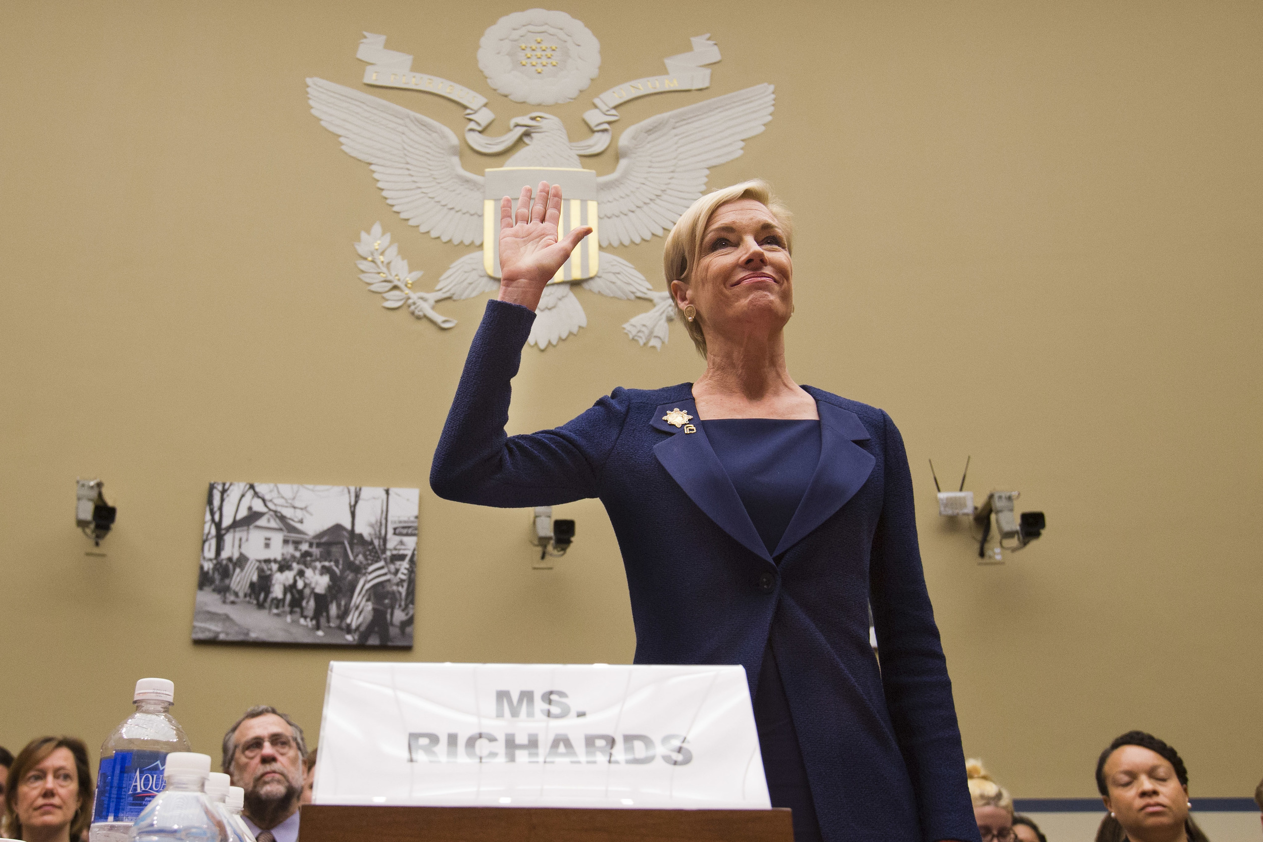 "In this Tuesday, Sept. 29, 2015 photo, Planned Parenthood Federation of America President Cecile Richards is sworn in before testifying at a House Committee on Oversight and Government Reform Hearing on ""Planned Parenthood's Taxpayer Funding,"" in Washington. (Jacquelyn Martin/AP)"