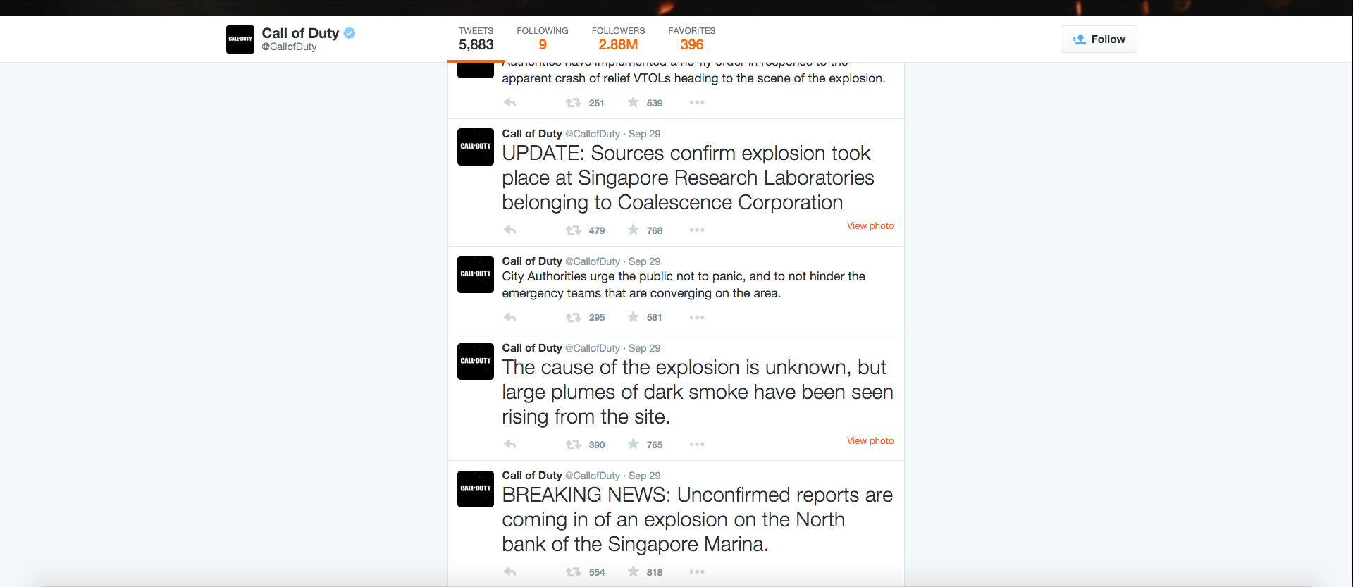 In this screenshot, a section of the Call of Duty Twitter feed is seen containing tweets related to a terrorist attack late last month. (Screenshot)