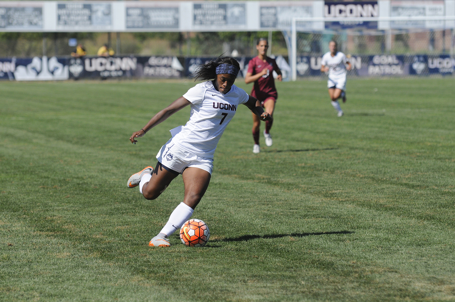 UConn women's soccer forward Liana Hinds prepares to kick the ball during the Huskies' game against Temple at Joseph J. Morrone Stadium on Friday, Oct. 2, 2015. (Amar Batra/The Daily Campus)