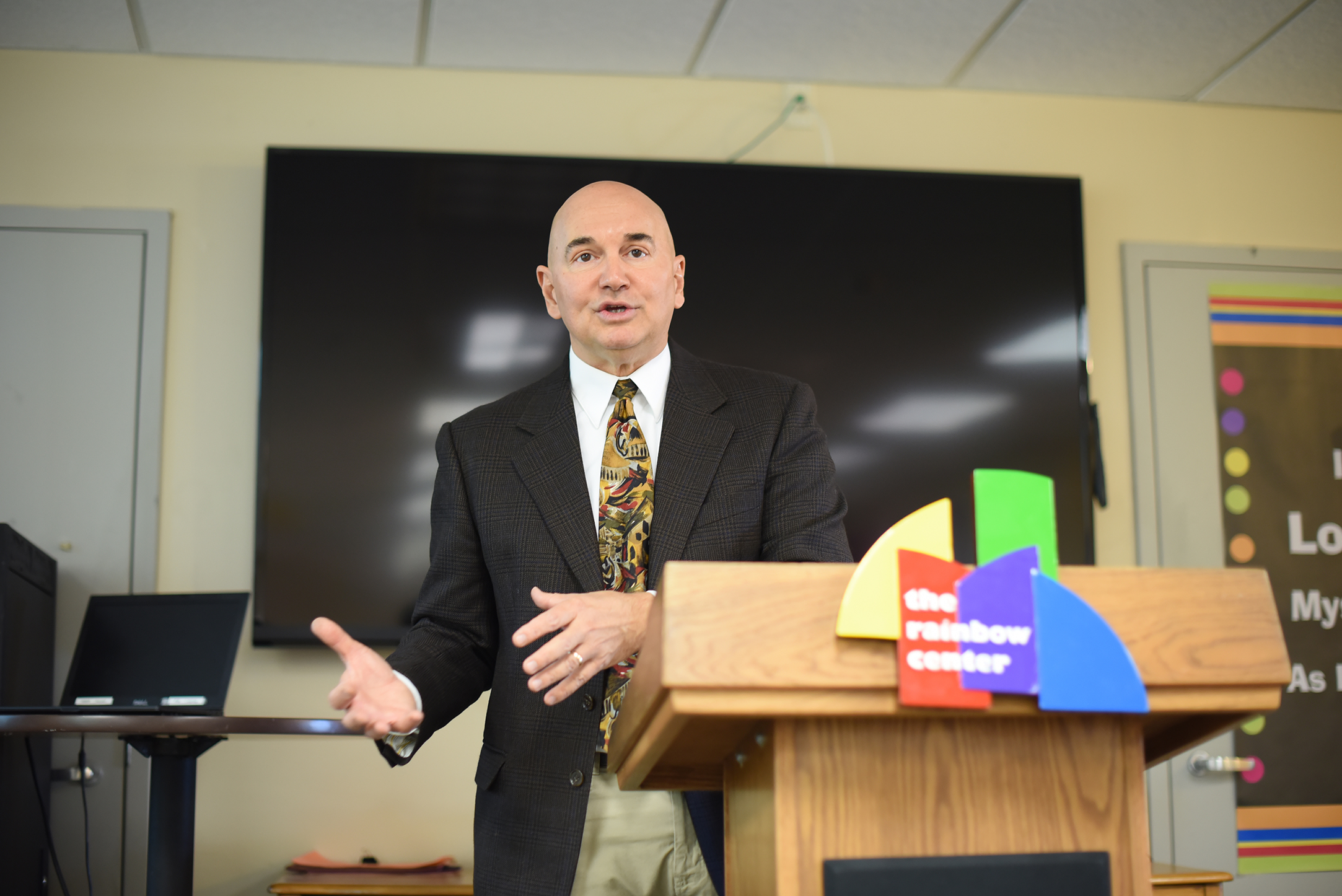 "John-Manuel Andriote, author and leading HIV/AIDS reporter, speaks during his lecture ""How Building Resilient Gay Men Saves Lives and Why It's Good for America,"" part of the Rainbow Center's Out to Lunch series, on Wednesday, Oct. 14, 2015. (Allen Lang/The Daily Campus)"