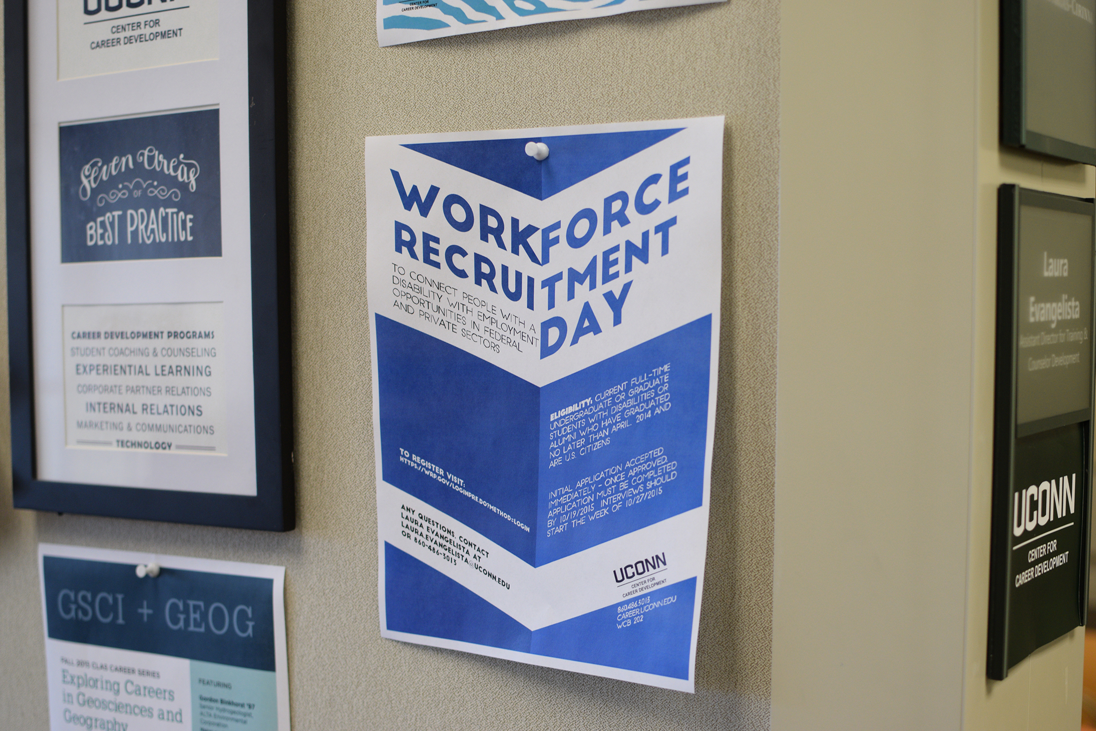 In this photo, a flyer is seen for the Workforce Recruitment Day event outside of the UConn Center for Career Development in the Wilbur Cross Building in Storrs, Connecticut on Monday, Oct. 19, 2015. (Grant Zitomer/The Daily Campus)