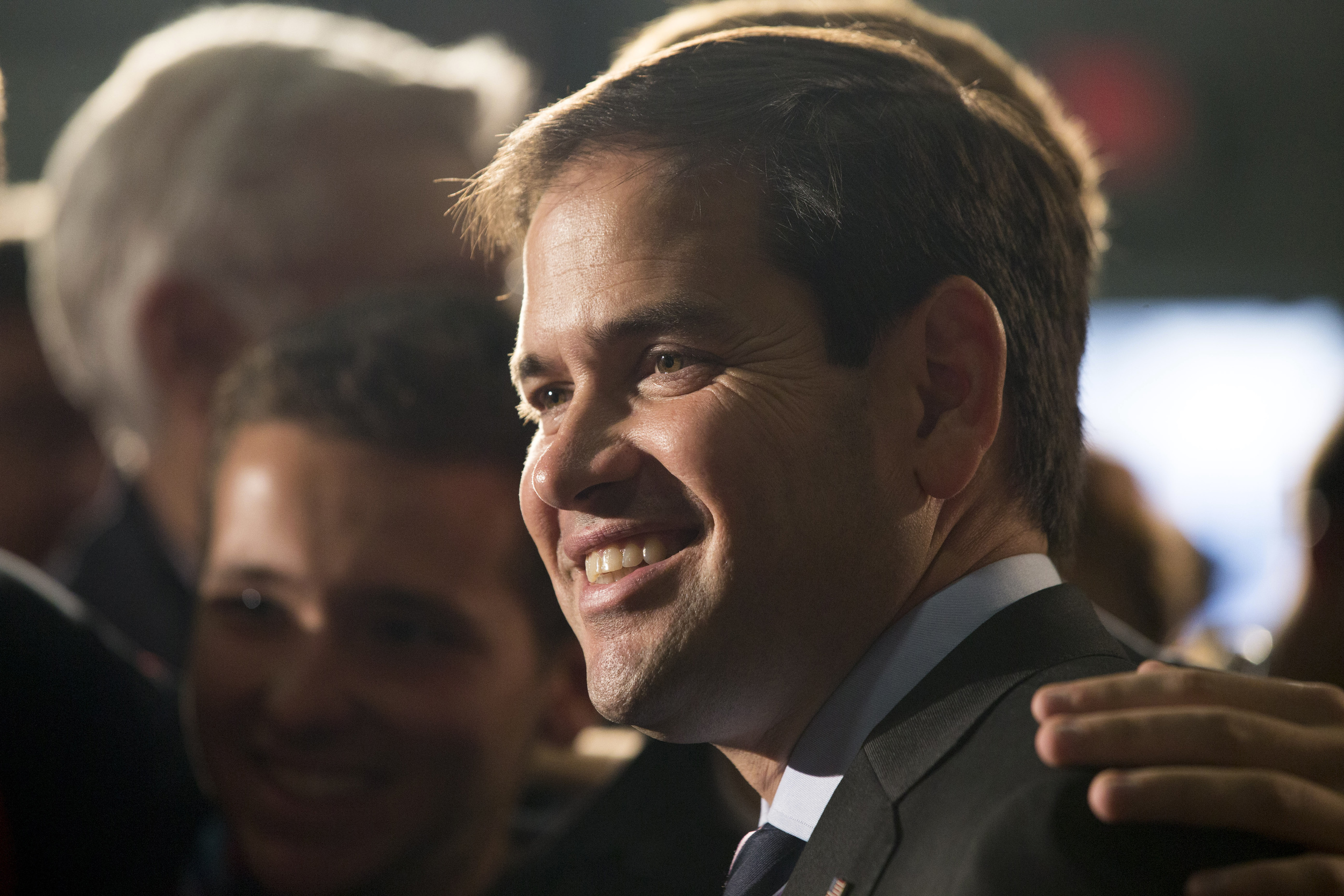 Sen. Marco Rubio, R-Fla., poses for photos during a stop at BOC Water Hydraulics on Friday, Oct. 16, 2015, in Salem, Ohio. Rubio spoke about energy during a speech for his Republican presidential campaign tour. (Scott R. Galvin/AP)