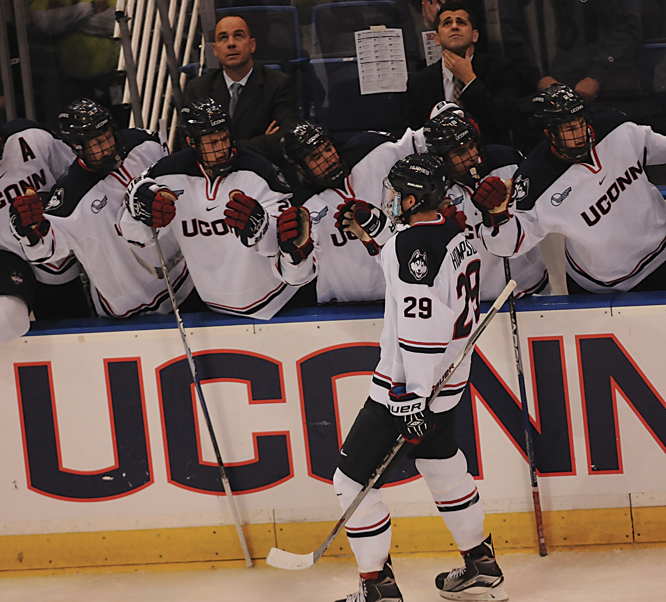 UConn men's hockey freshman forward Tage Thompson (29) skates past the Huskies' bench after scoring a goal in the team's game against Boston University at XL Center in Hartford, Connecticut on Tuesday, Oct. 27, 2015. (Amar Batra/The Daily Campus)