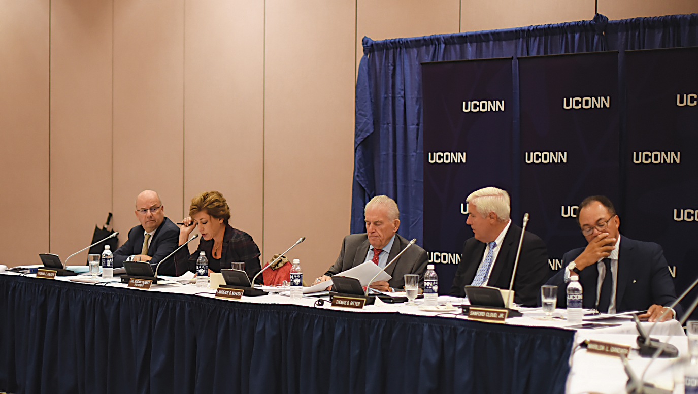 In this file photo, members of the UConn Board of Trustees listen as university president Susan Herbst (second from left) speaks during the board's meeting on Wednesday, Sept. 30, 2015. (Allen Lang/The Daily Campus)