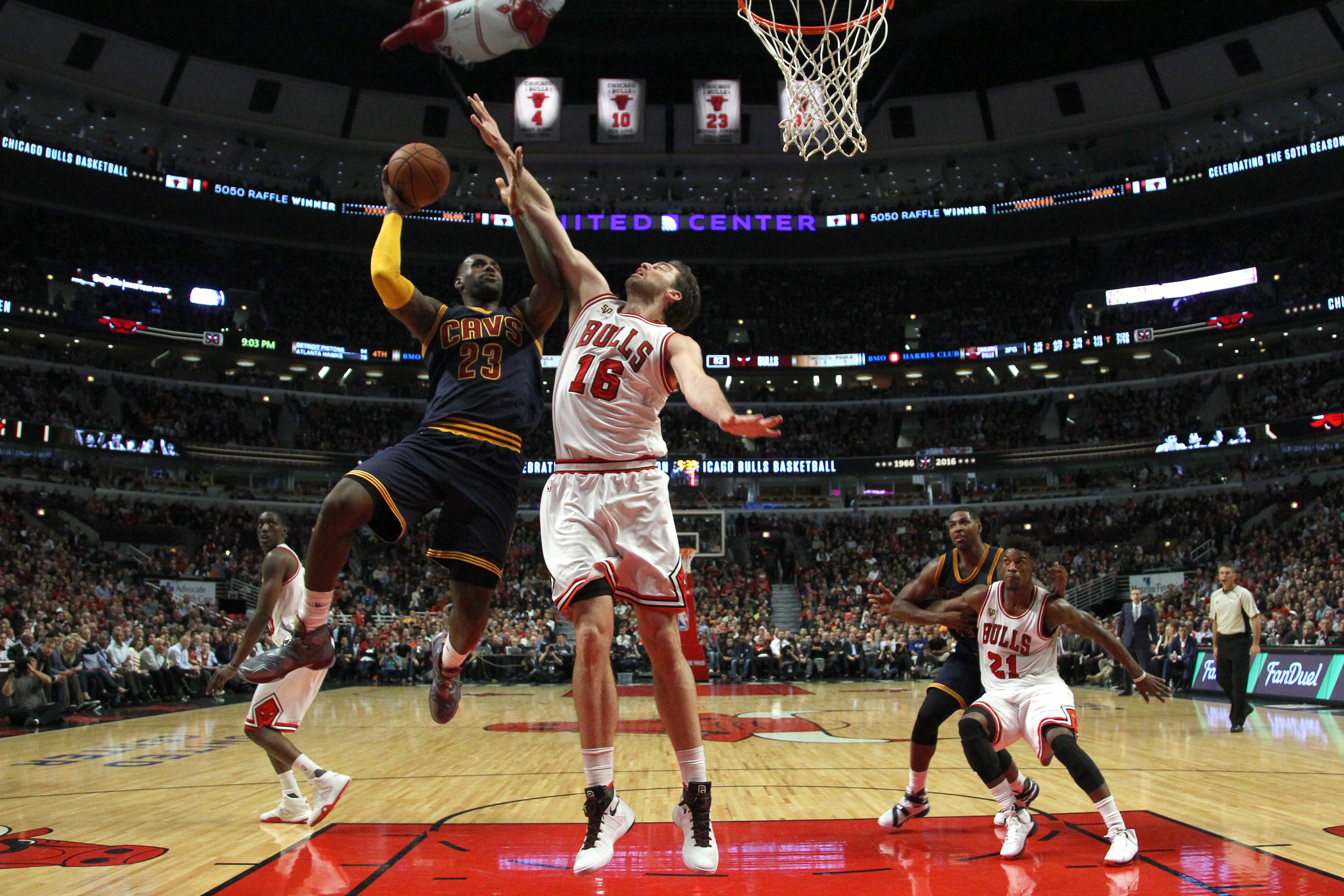 Cleveland Cavaliers forward LeBron James (23) shoots over Chicago Bulls forward  Pau  Gasol (16) during the second half of an NBA basketball game Tuesday, Oct. 27, 2015, in Chicago. The Bulls won the game 97-95. (AP)
