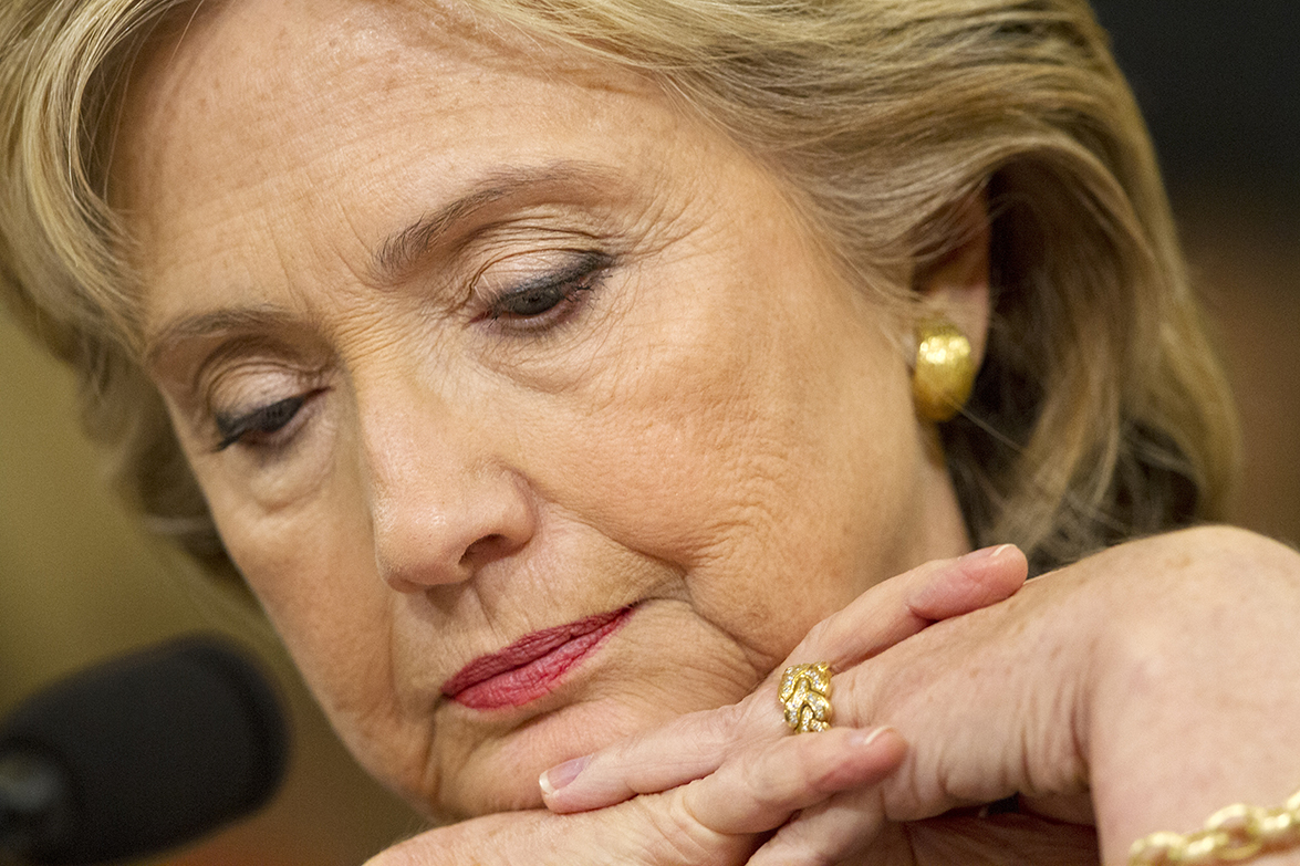 Democratic presidential candidate and former Secretary of State Hillary Rodham Clinton, looks down during questioning on Capitol Hill in Washington on Thurs., Oct. 22 before the House Select Committee on Benghazi. (AP)