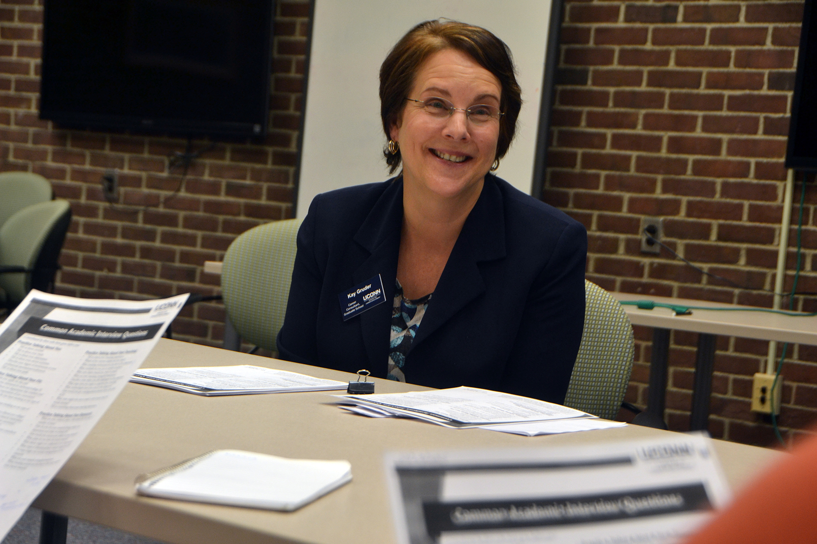 Center for Career Development career consultant Kay Gruder speaks to a group of students during a workshop at Homer D. Babbidge Library in Storrs, Connecticut on Thursday, Oct. 29, 2015. (Bailey Wright/The Daily Campus)