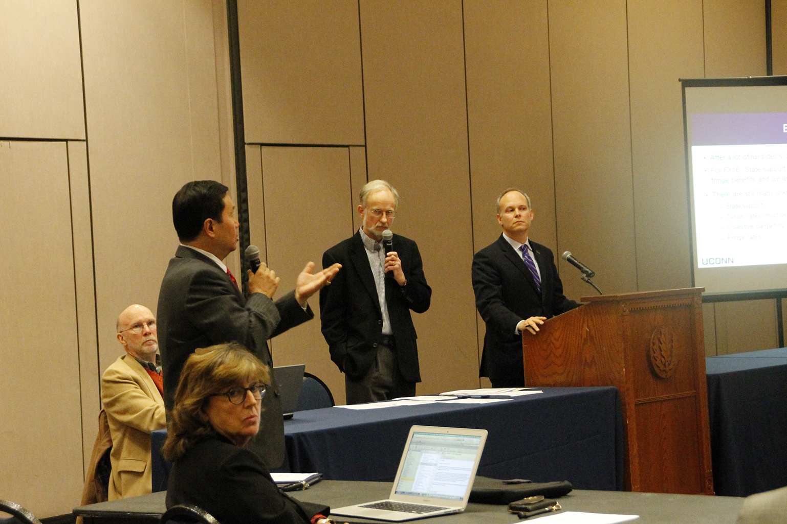 UConn Provost Mun Choi (left) speaks during the University Senate meeting in Storrs, Connecticut on Monday, Nov. 2, 2015.UConn's current deficit of $40 million will count for a 16 to 17 percent increase of tuition, Choi said at the meeting. (Marissa Aldieri/The Daily Campus)