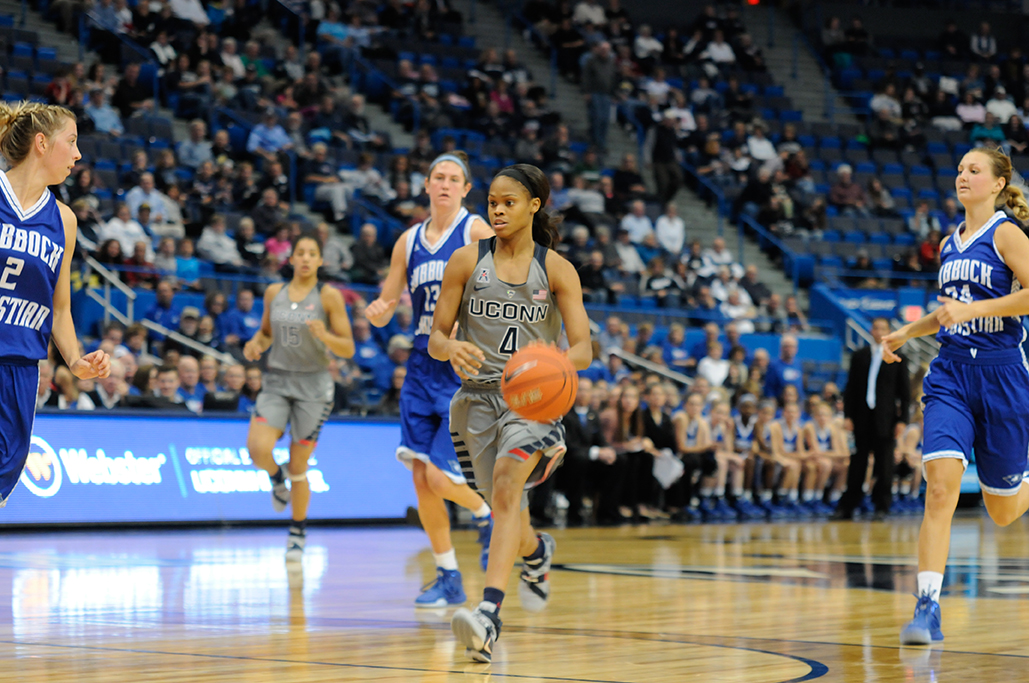 UConn women's basketball guard Moriah Jefferson dribbles down the court during the Huskies' exhbition game against Division II Lubbock Christian at the XL Center in Hartford, Connecticut on Monday, Nov. 2, 2015. (Amar Batra/The Daily Campus)