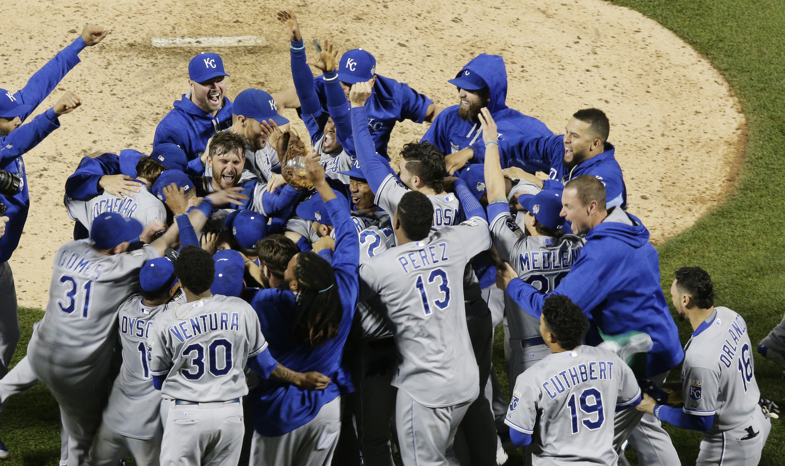 Member of the Kansas City  Royals celebrates after Game 5 of the Major League Baseball World Series against the New York Mets Monday, Nov. 2, 2015, in New York. The  Royals won 7-2 to win the series. (AP)