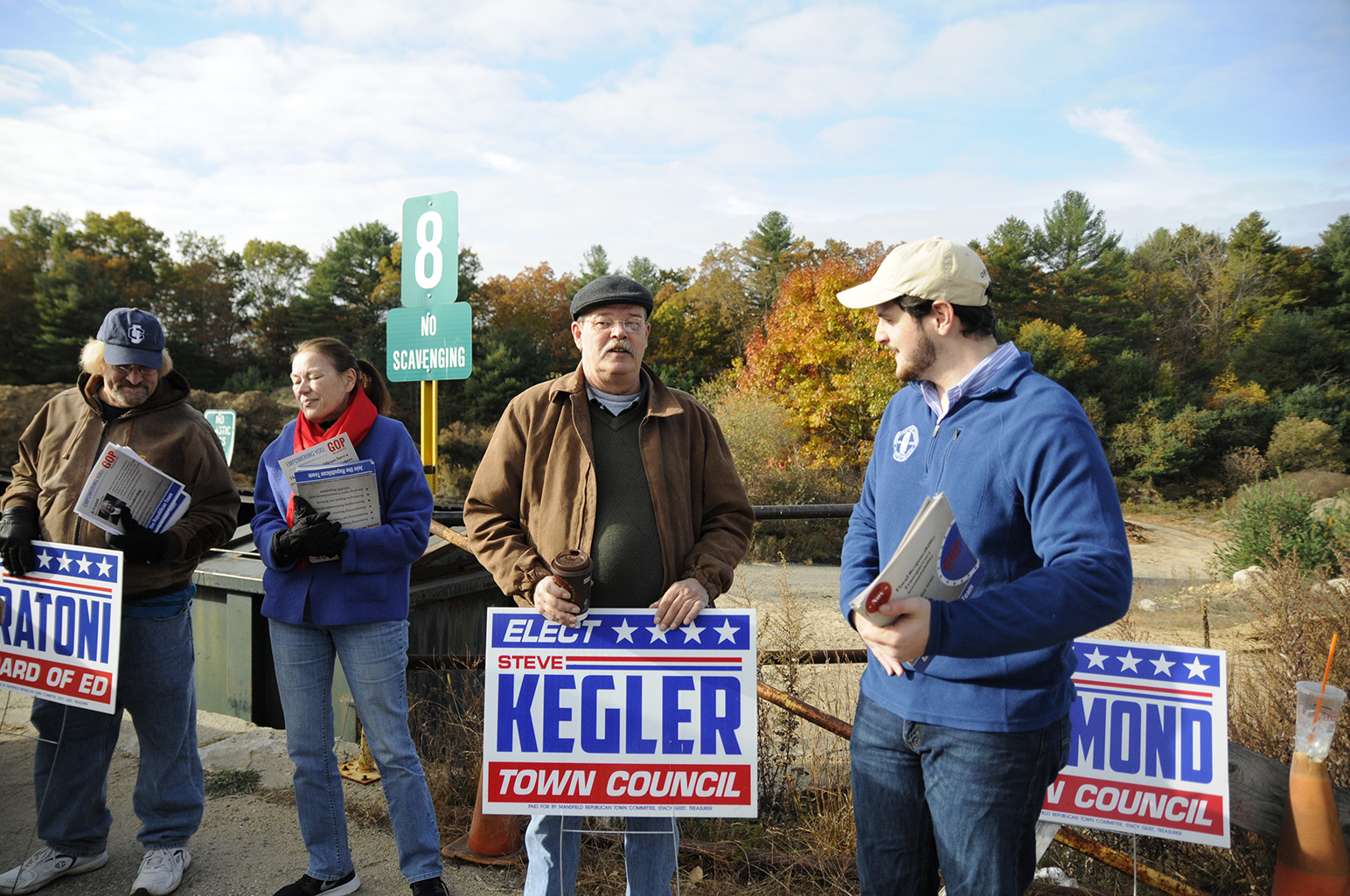 The Mansfield Republicans ran three candidates for the three minority seats on the Mansfield Town Council. Republican town council candidates pictured right to left at the Mansfield Transfer Station: Mark Sargent (new entry), Steve Kegler (incumbent) and Virginia Raymond (incumbent). (Amar Batra/The Daily Campus)