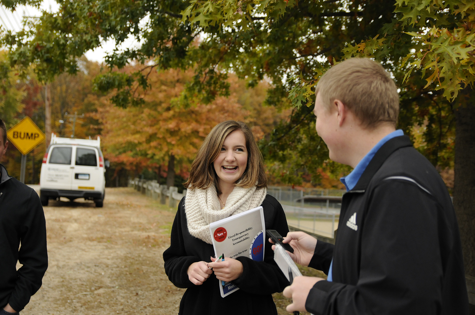 The Republicans were joined by members of the UConn College Republicans in their door-knocking campaign. Gianna Bodnar, vice president of the UConn College Republicans, talks with Daily Campus reporter Kyle Constable on the campaign trail. (Amar Batra/The Daily Campus)