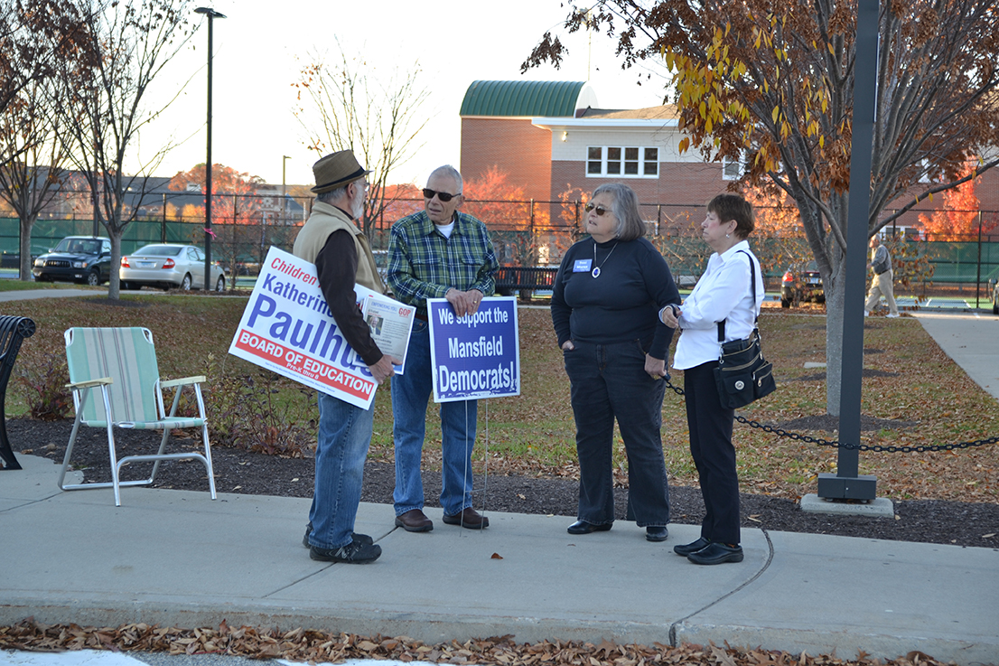 On Election Day, supporters of both parties waited outside polling locations to talk with voters about potential issues. (Amar Batra/The Daily Campus)