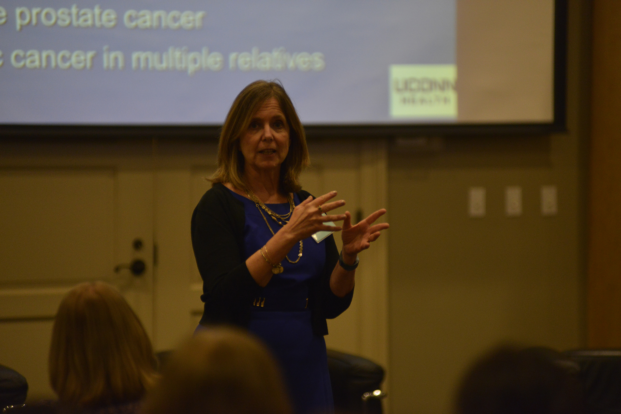 Professor Robin Schwartz helped lead a discussion at Hillel House Wednesday November 4th, 2015. Schwartz brought up illuminating details and statistics on breast and ovarian cancer. (Jason Jiang/The Daily Campus).