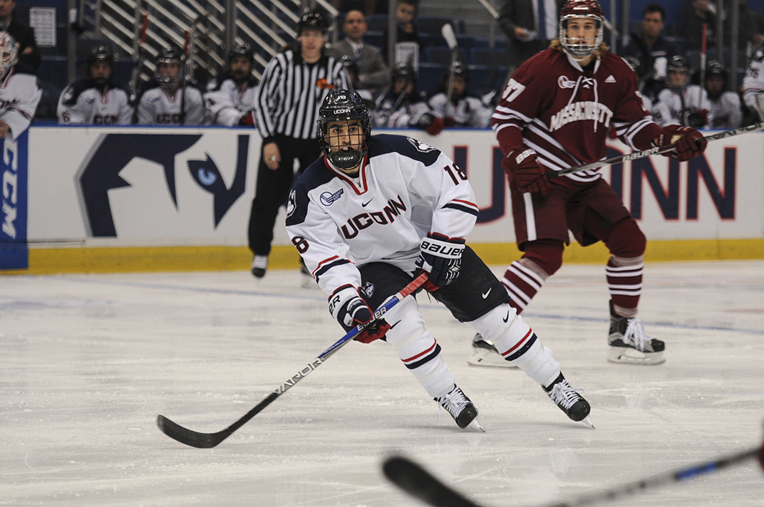UConn freshman forward Max Kalter looks to receive the puck during the Huskies' game against UMass at the XL Center in Hartford, Connecticut on Friday, Nov. 6, 2015. UConn lost 4-2, dropping to 3-5-0 this season. (Bailey Wright/The Daily Campus)