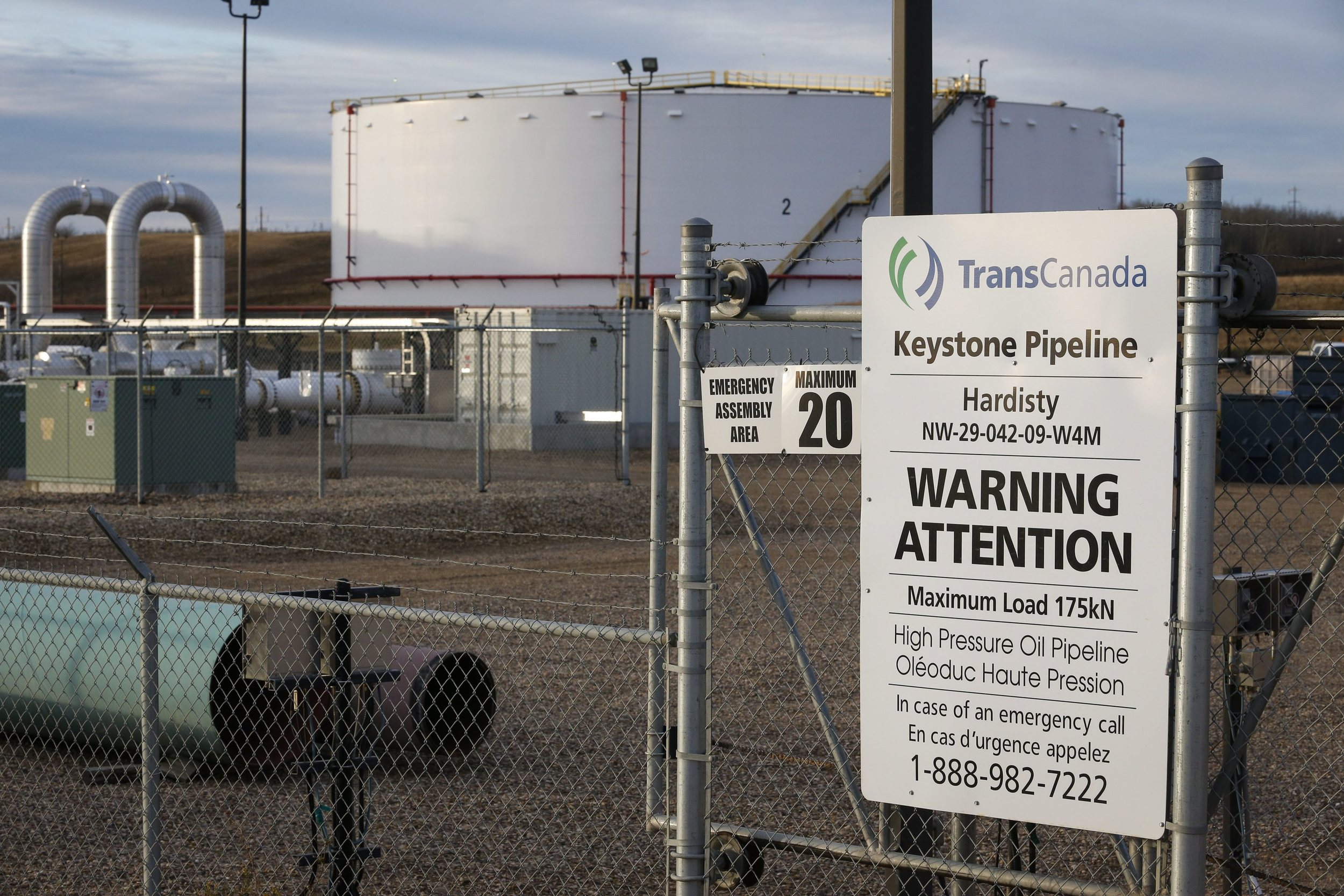 TransCanada's Keystone pipeline facilities in Hardisty, Alberta, Canada, on Friday, Nov. 6, 2015. Following the Obama administration's rejection of the Keystone XL pipeline, the oil industry faces the tricky task of making sure the crude oil targeted for the pipeline still gets where it needs to go. (Jeff McIntosh/The Canadian Press via AP)