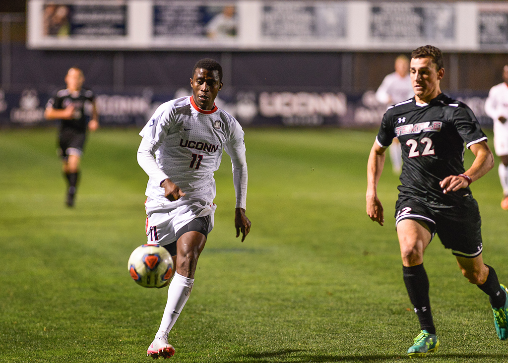 UConn freshman forward Abdou Mbacke Thiam chases down the ball during the Huskies' quarterfinal game against Temple in the American Athletic Conference tournament on Saturday, Nov. 7, 2015. Thiam had two goals in the 4-0 victory. (Jason Jiang/The Daily Campus)