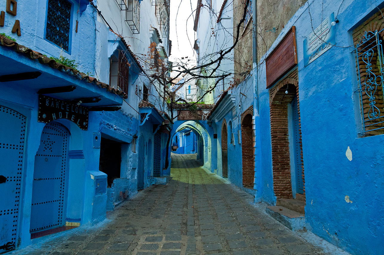 A view of one of the many blue-painted streets in Chefchaouen, Morocco.Chefchaouen is situated in the Rif Mountains, just inland from Tangier. (Flickr/Mark Fischer).