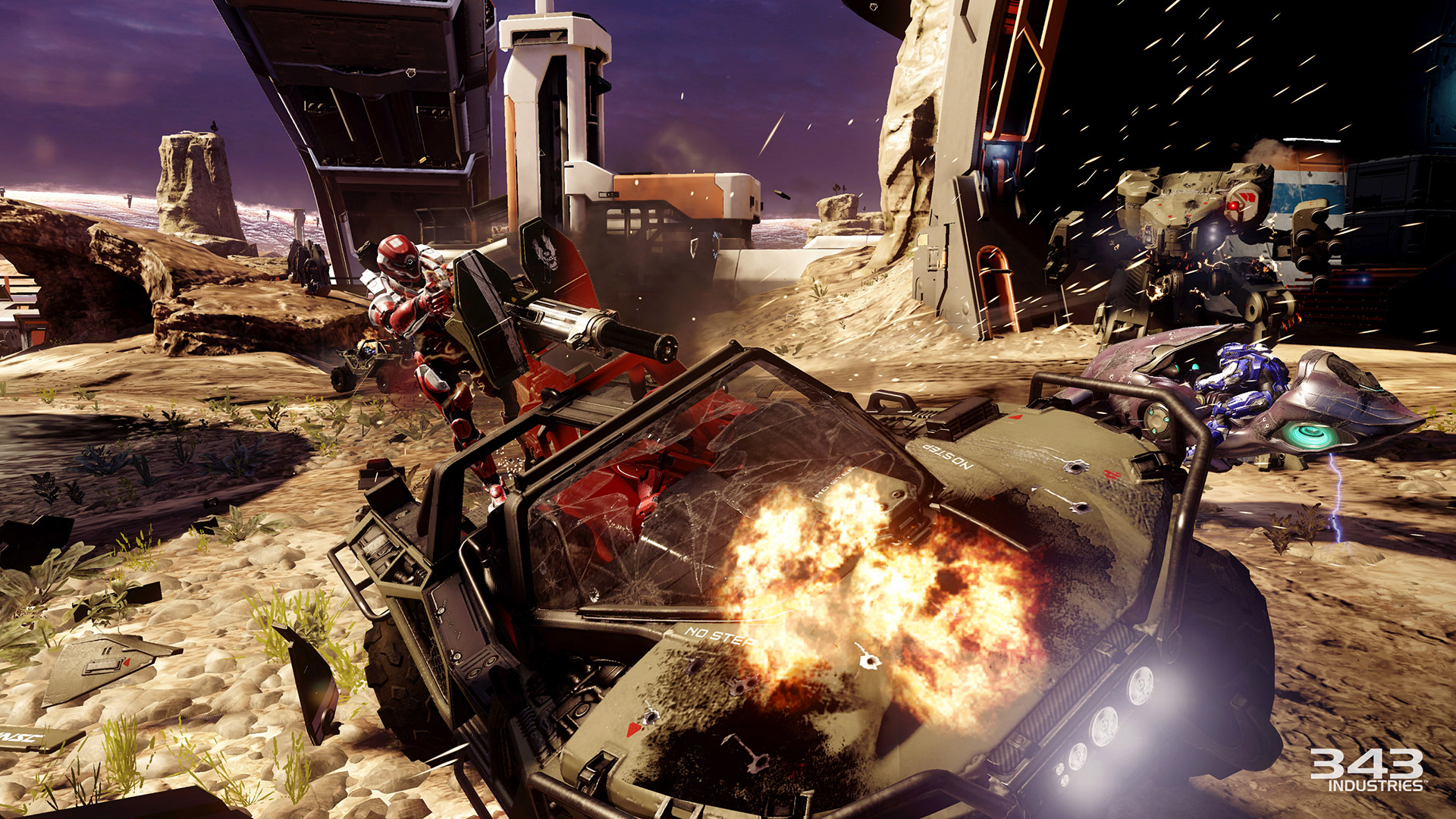 """A snapshot of the Halo 5: Guardians warzone, """"a brand new, massive-scale multiplayer mode that supports 24-player battles,"""" according to the video game  website . (Courtesy/ Halo 5: Guardians )"""