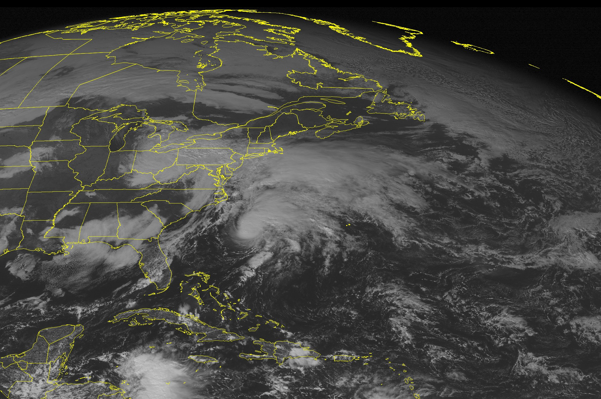 This NOAA satellite image taken Tues., Nov. 10 at 12:45 p.m. shows a storm system over the Mid-Atlantic moving northeast into New England which will produce moderate to heavy rain over the area overnight. (Weather Underground via AP)
