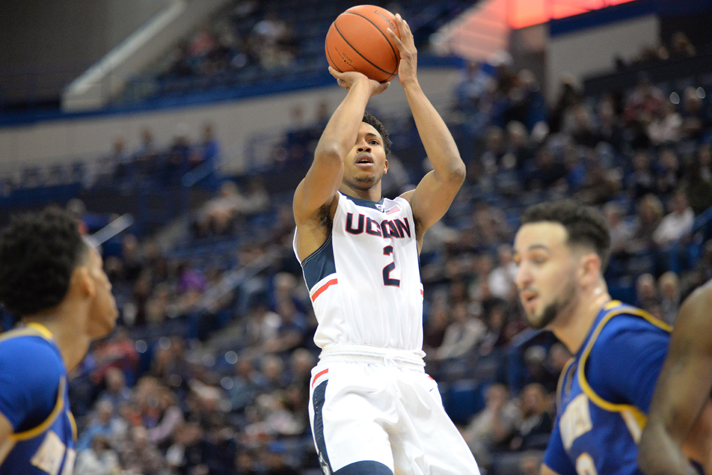 UConn freshman point guard Jalen Adams takes a shot during the Huskies' exhibition game against the University of New Haven at Gampel Pavilion in Storrs, Connecticut on Saturday, Nov. 7, 2015. (Ashley Maher/The Daily Campus)