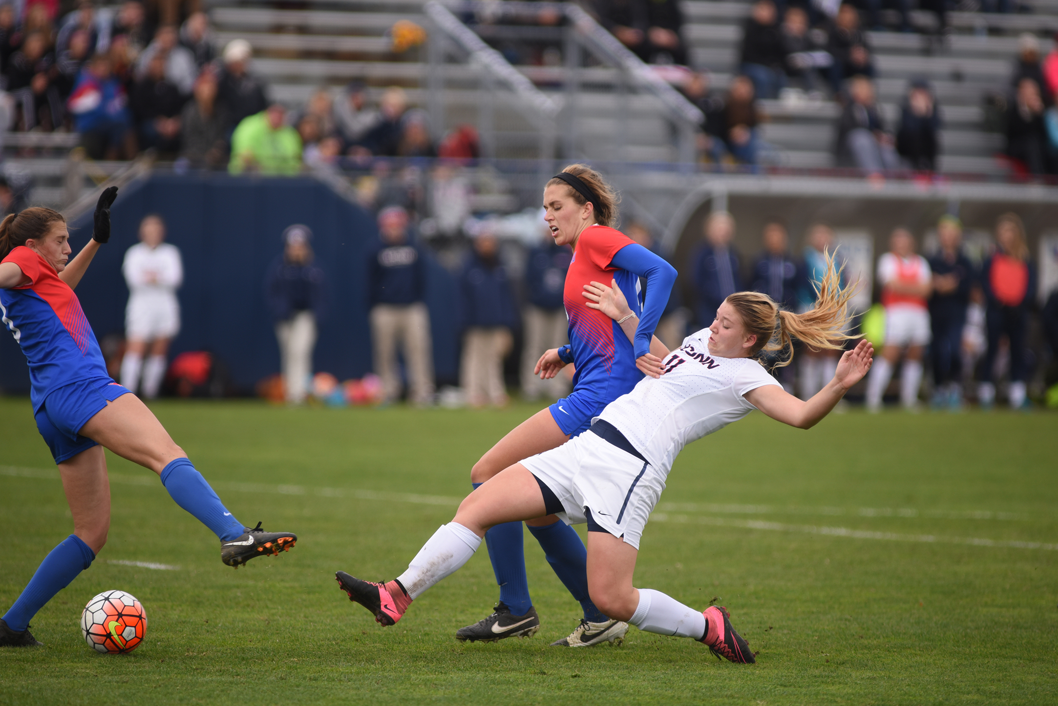 UConn freshman forward Kim Urbanek makes a tackle during the Huskies' game against SMU on Sunday, Oct. 25, 2015. The team opens NCAA Tournament play Sunday at Joseph J. Morrone Stadium against Siena. (Allen Lang/The Daily Campus)