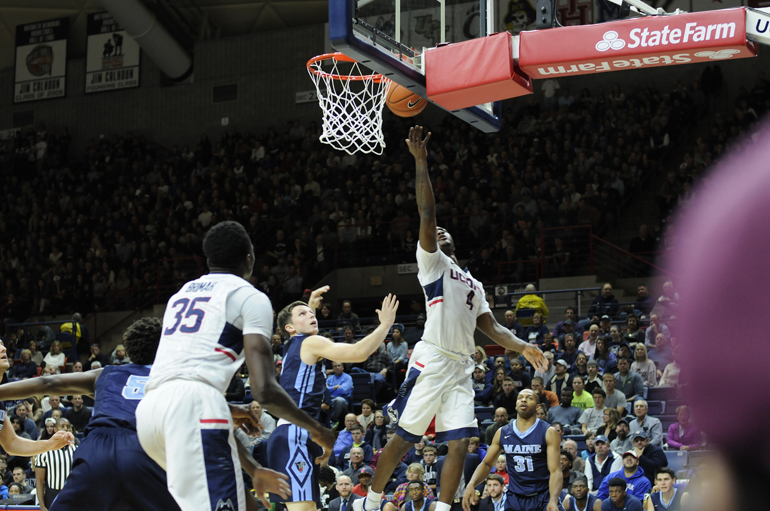 UConn guard Sterling Gibbs goes up for a layup during the Huskies' game against Maine at Gampel Pavilion in Storrs, Connecticut on Friday, Nov. 13, 2015. (Bailey Wright/The Daily Campus)