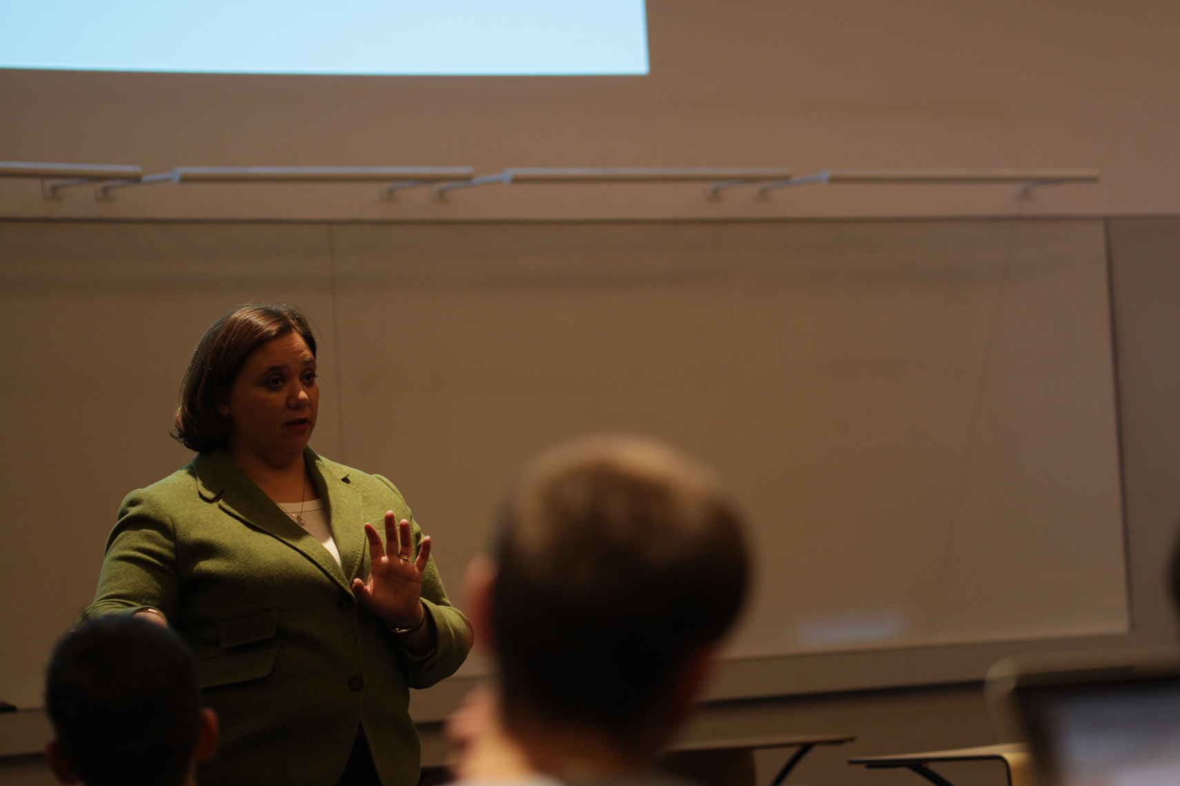 Jennifer Lease Butts,assistant vice provost for enrichment programs and director of the honors program, speaks at a town hall meeting in Laurel Hall in Storrs, Connecticut on Thursday, Nov. 19, 2015. (Mei Buzzell/The Daily Campus)