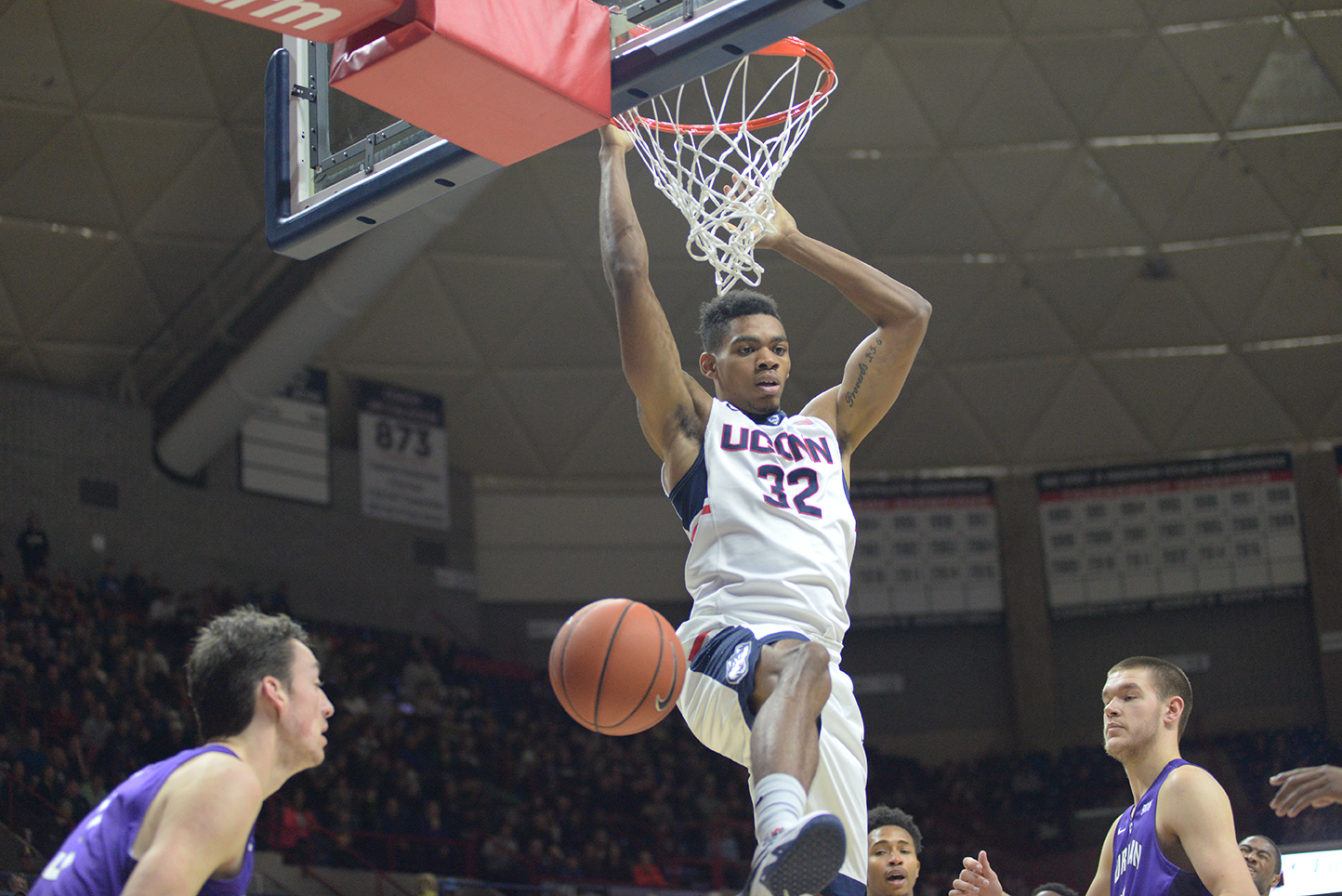 UConn men's basketball forward Shonn Miller dunks during the Huskies' game against Furman at Gampel Pavilion in Storrs, Connecticut on Saturday, Nov. 21, 2015. Miller led UConn with 18 points and seven rebounds. (Ashley Maher/The Daily Campus)