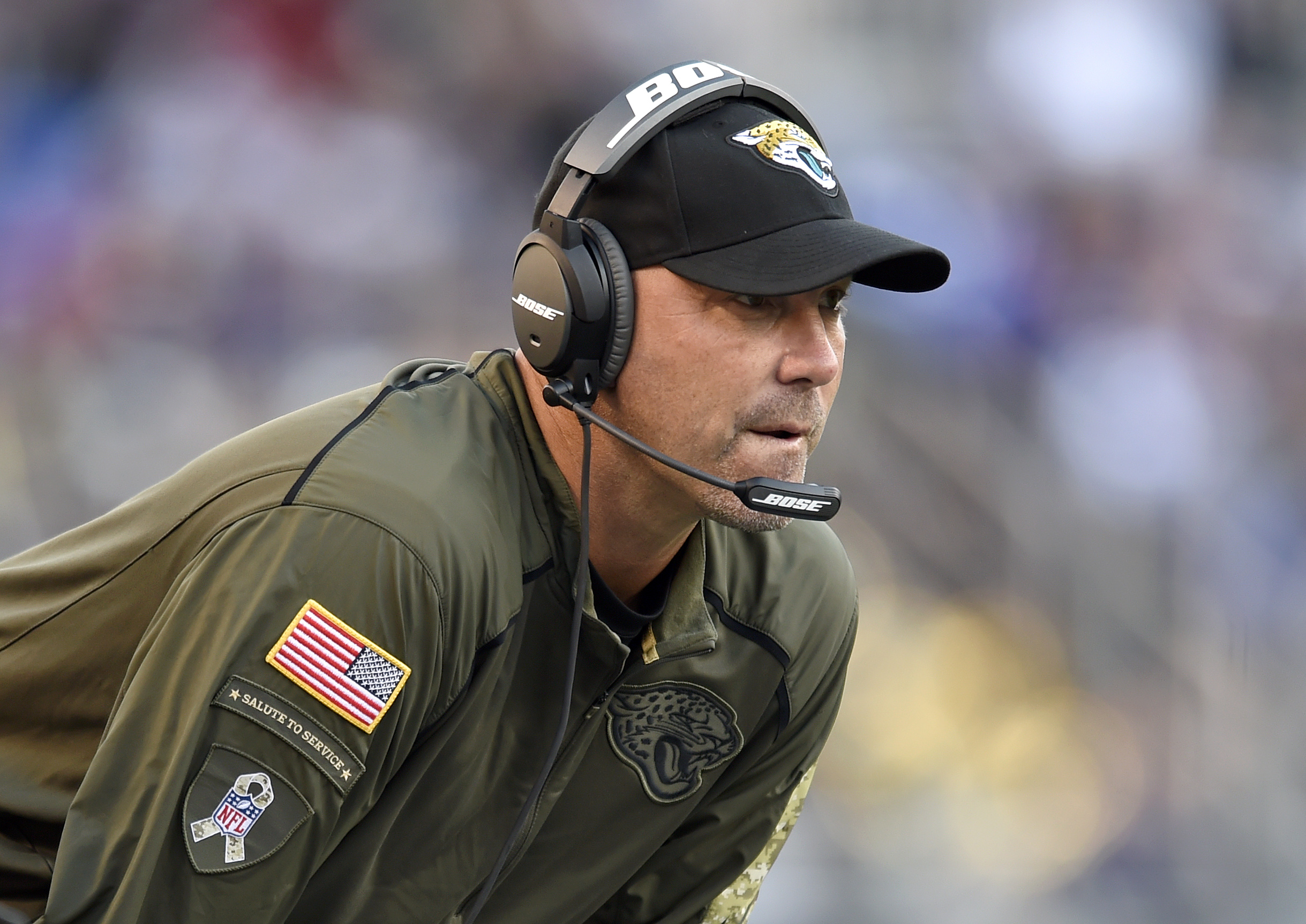 Jacksonville Jaguars head coach Gus Bradley watches the second half an NFL football game against the Baltimore Ravens, Sunday, Nov. 15, 2015, in Baltimore. (Gail Burton/AP)