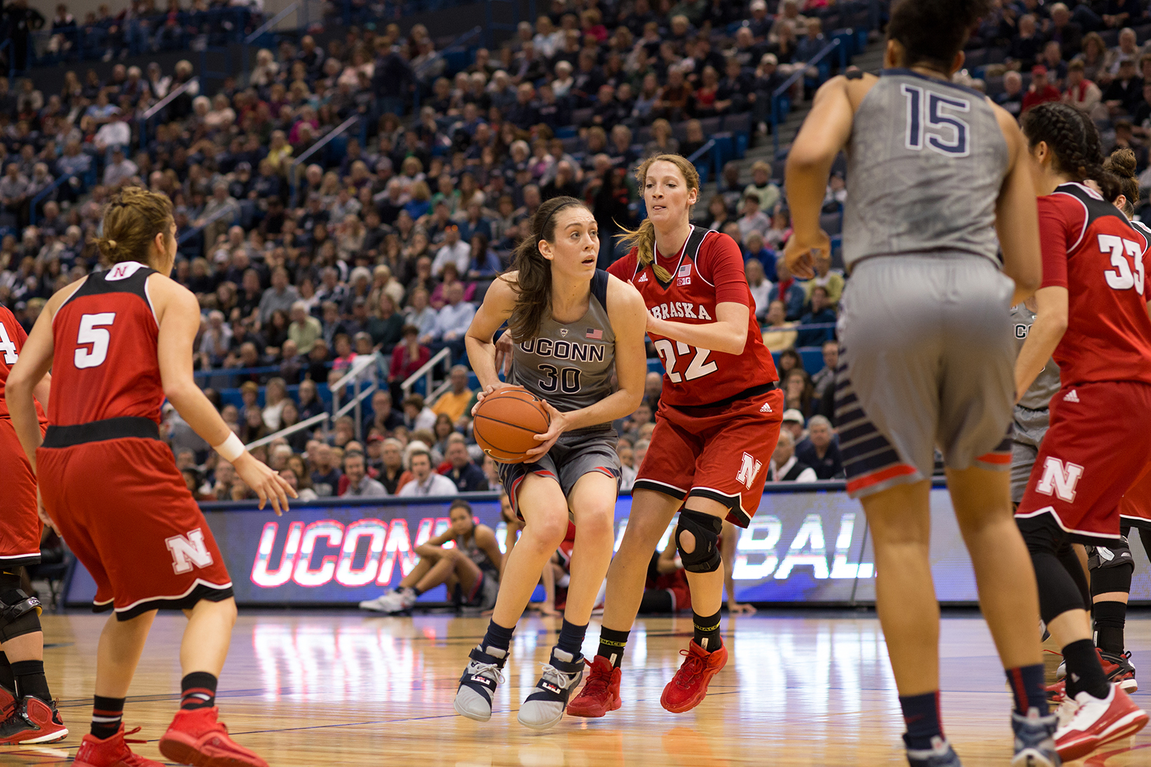 Senior forward Breanna Stewart looks for a shot during UConn's 88-46 victory over Nebraska. Stewart has been named American Conference Player of the Week twice already this season. (Jackson Haigis/The Daily Campus).