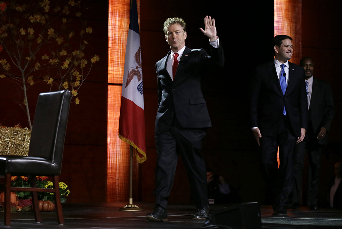 Republican presidential candidate, Sen. Rand Paul, R-Ky., walks on stage at the start of the Presidential Family Forum, Friday, Nov. 20, 2015, in Des Moines, Iowa. (AP)