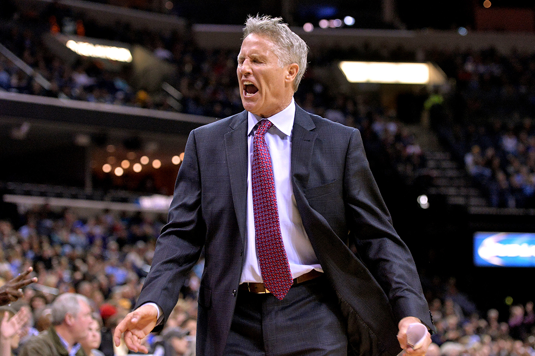 Philadelphia 76ers head coach Brett Brown reacts in the second half of an NBA basketball game against the Memphis Grizzlies on Sunday, Nov. 29, 2015, in Memphis, Tenn. (AP).