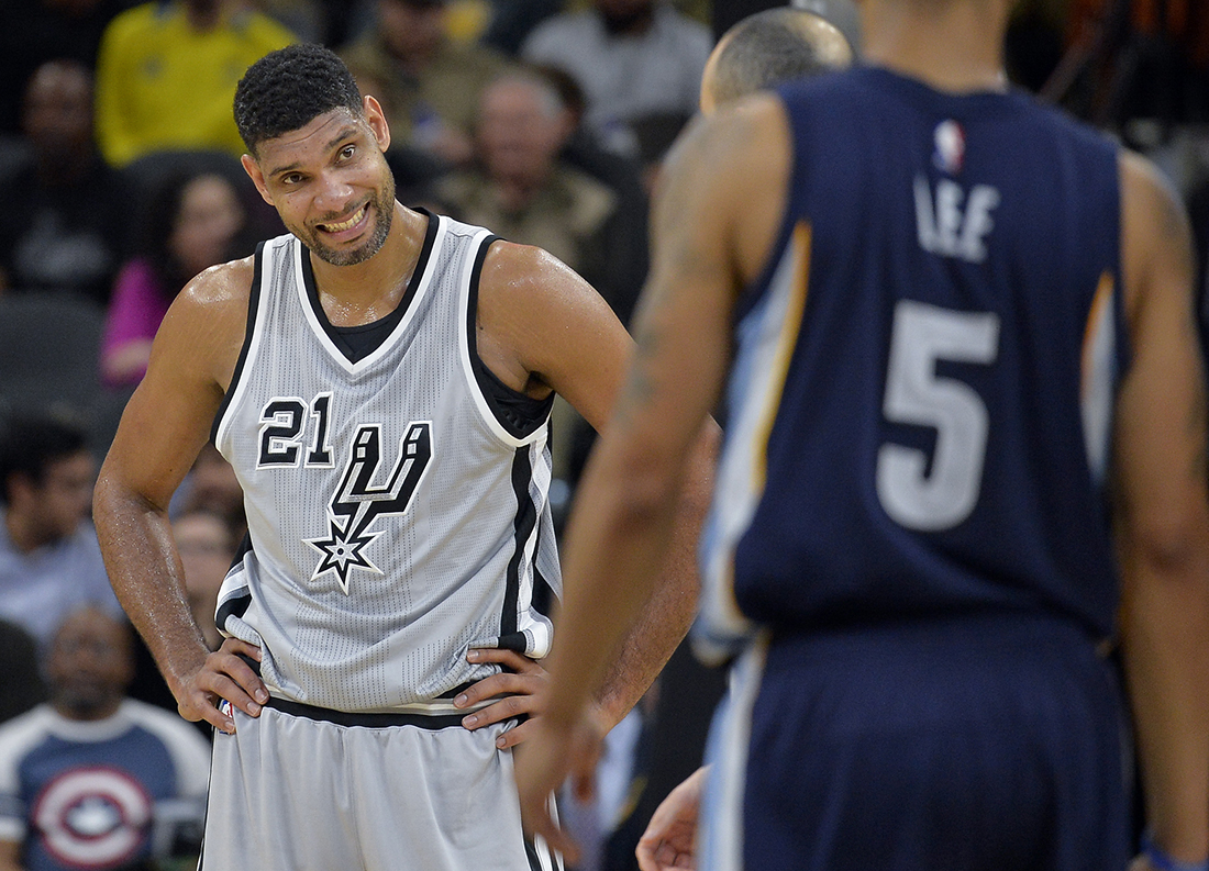 San Antonio Spurs forward Tim Duncan (21) smiles during the second half of an NBA basketball game against the Memphis Grizzlies, Saturday, Nov. 21, 2015, in San Antonio. San Antonio won 92-82. (AP).