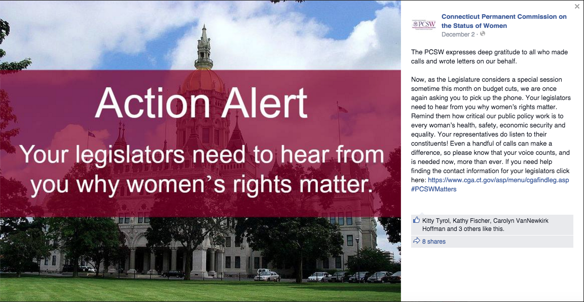 A post from December 2 on the  Facebook page for the Permanent Commission on the Status of Women, asking constituents, once again, to reach out for legislators and call off the budget cuts. (Screenshot/PCSW Facebook page)