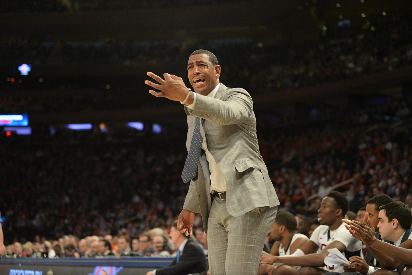 UConn men's basketball head coach Kevin Ollie is pictured during the Huskies' game against No. 6 Maryland at Madison Square Garden in New York on Tuesday, Dec. 8, 2015. (Ashley Maher/The Daily Campus)