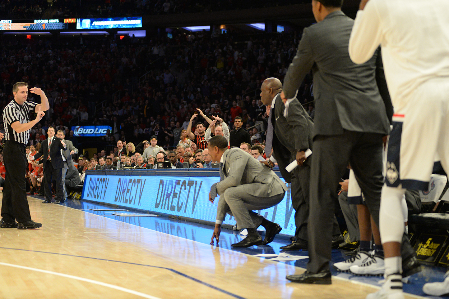 UConn head coach Kevin Ollie is seen receiving a technical foul during the Huskies' game against No. 6 Maryland on Tuesday, Dec. 8, 2015. (Ashley Maher/The Daily Campus)